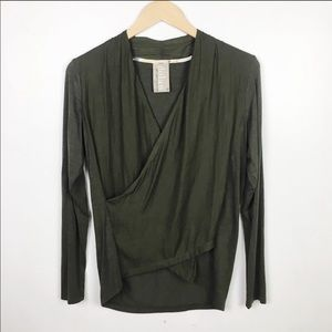 Anthropologie Dolan Olive Green CrossOver Wrap Top